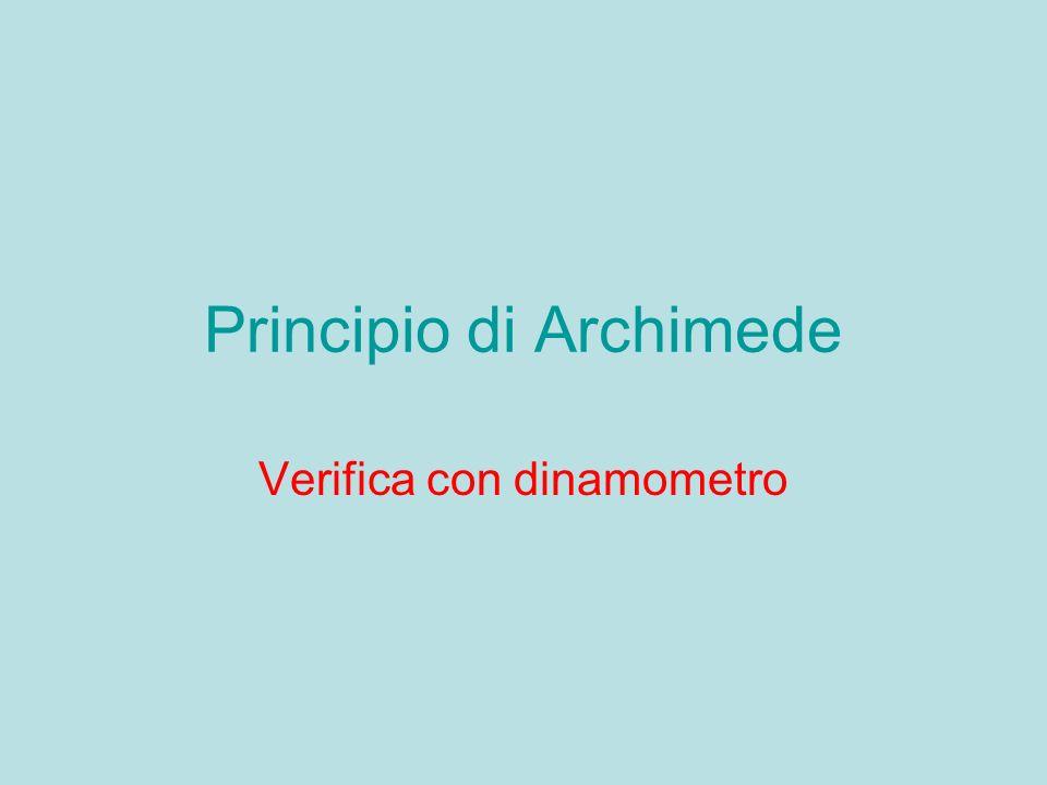 Principio di Archimede Verifica con dinamometro
