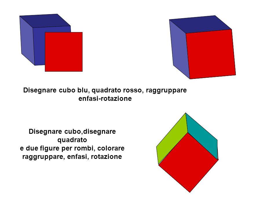 Disegnare cubo blu, quadrato rosso, raggruppare enfasi-rotazione Disegnare cubo,disegnare quadrato e due figure per rombi, colorare raggruppare, enfas
