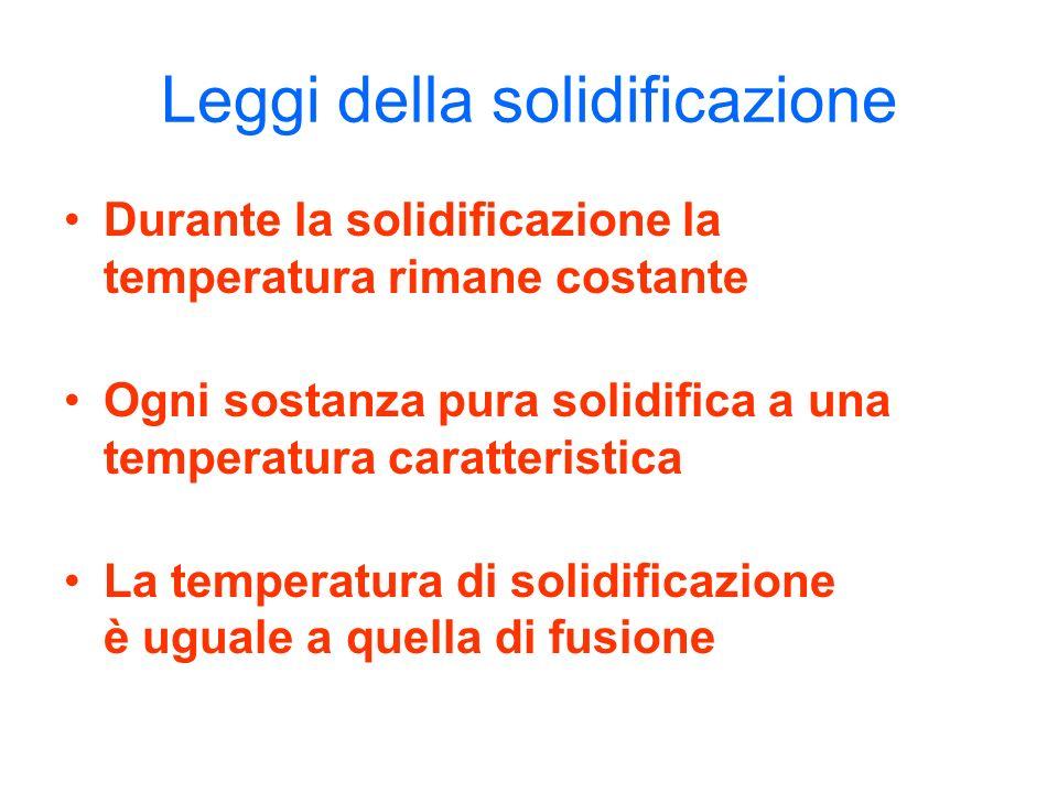 Leggi della solidificazione Durante la solidificazione la temperatura rimane costante Ogni sostanza pura solidifica a una temperatura caratteristica L