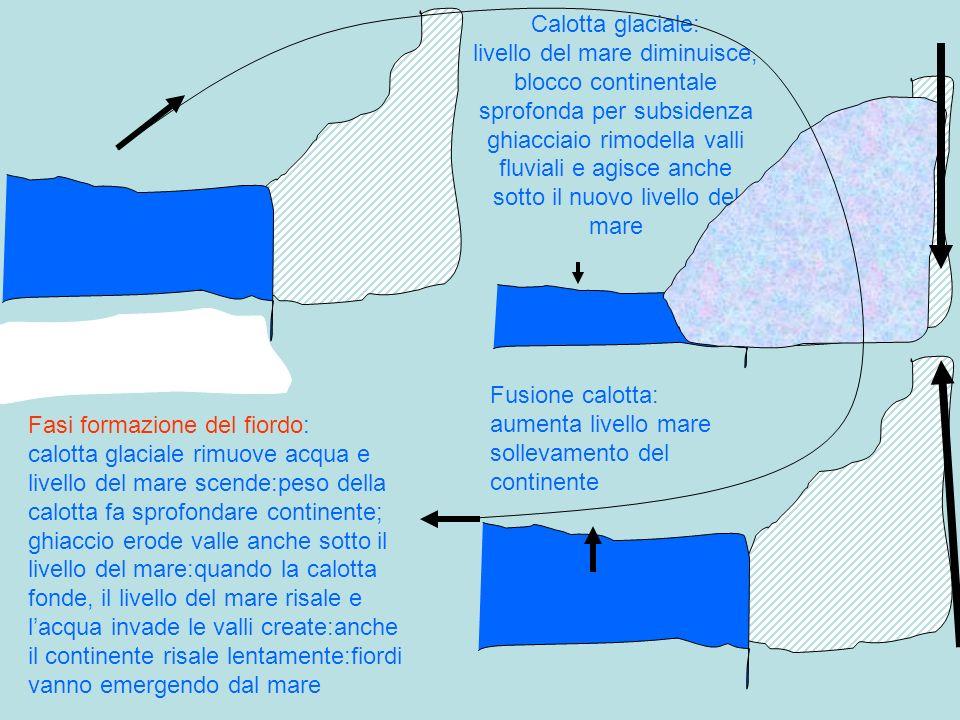 Calotta glaciale: livello del mare diminuisce, blocco continentale sprofonda per subsidenza ghiacciaio rimodella valli fluviali e agisce anche sotto i