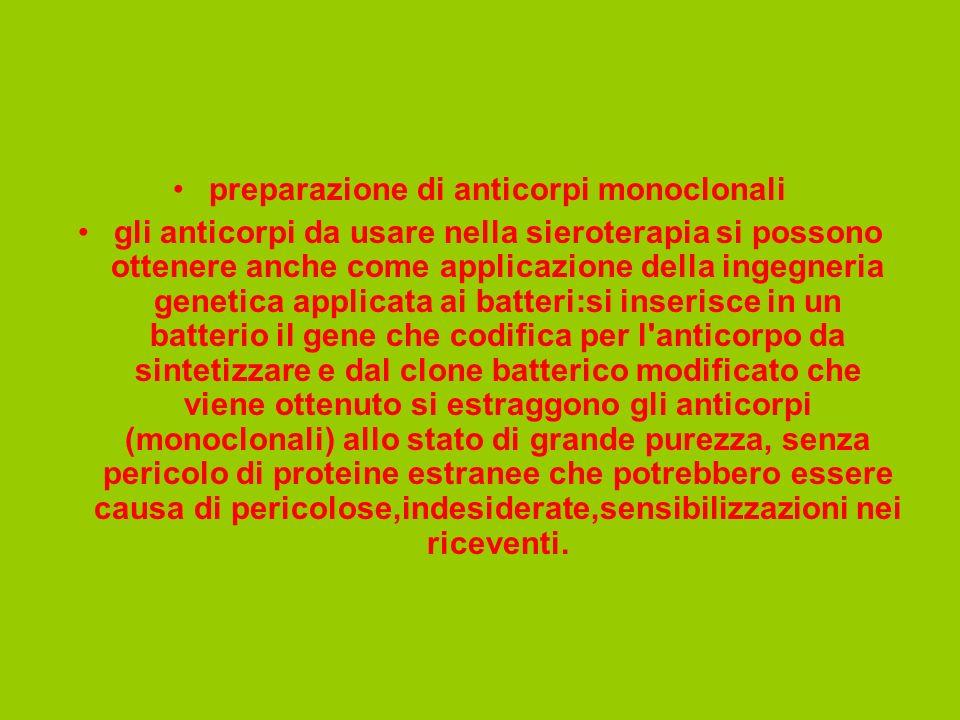 preparazione di anticorpi monoclonali gli anticorpi da usare nella sieroterapia si possono ottenere anche come applicazione della ingegneria genetica