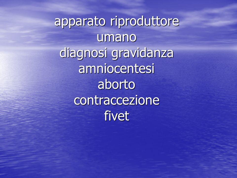 apparato riproduttore umano diagnosi gravidanza amniocentesi aborto contraccezione fivet
