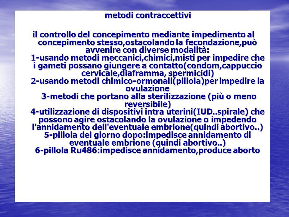 metodi contraccettivi metodi contraccettivi il controllo del concepimento mediante impedimento al concepimento stesso,ostacolando la fecondazione,può