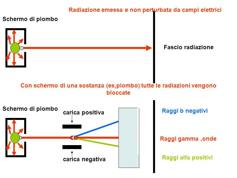 Schermo di piombo Raggi b negativi Raggi alfa positivi Raggi gamma,onde carica positiva carica negativa Schermo di piombo Raggi b negativi Raggi alfa positivi Raggi gamma,onde carica positiva carica negativa Schermo di sostanza A interposto lascia passare solo raggi gamma Schermo di sostanza B interposto lascia passare solo raggi beta e gamma