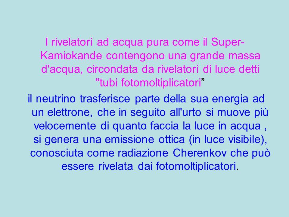 I rivelatori ad acqua pura come il Super- Kamiokande contengono una grande massa d'acqua, circondata da rivelatori di luce detti