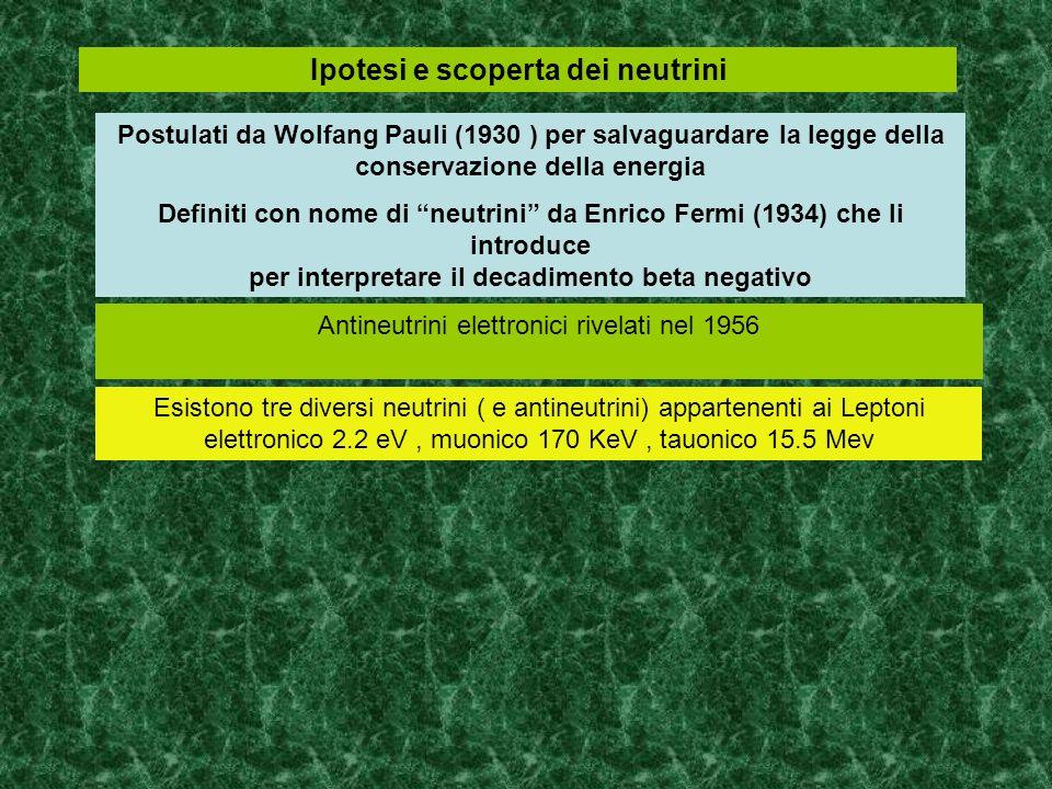 Ipotesi e scoperta dei neutrini Postulati da Wolfang Pauli (1930 ) per salvaguardare la legge della conservazione della energia Definiti con nome di n