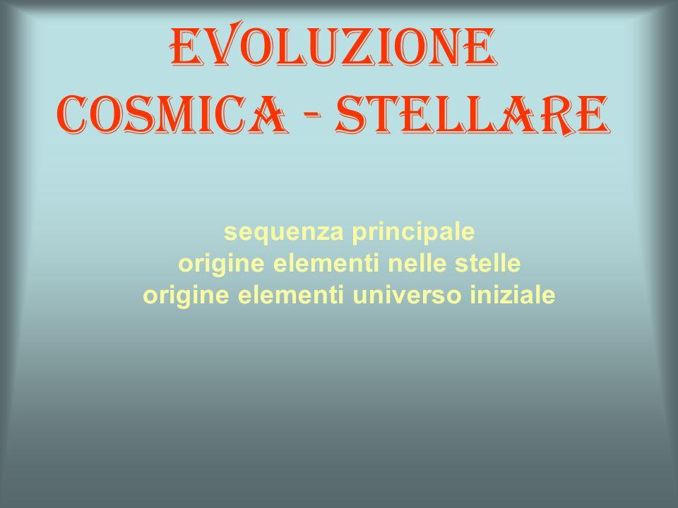 Evoluzione cosmica - stellare sequenza principale origine elementi nelle stelle origine elementi universo iniziale