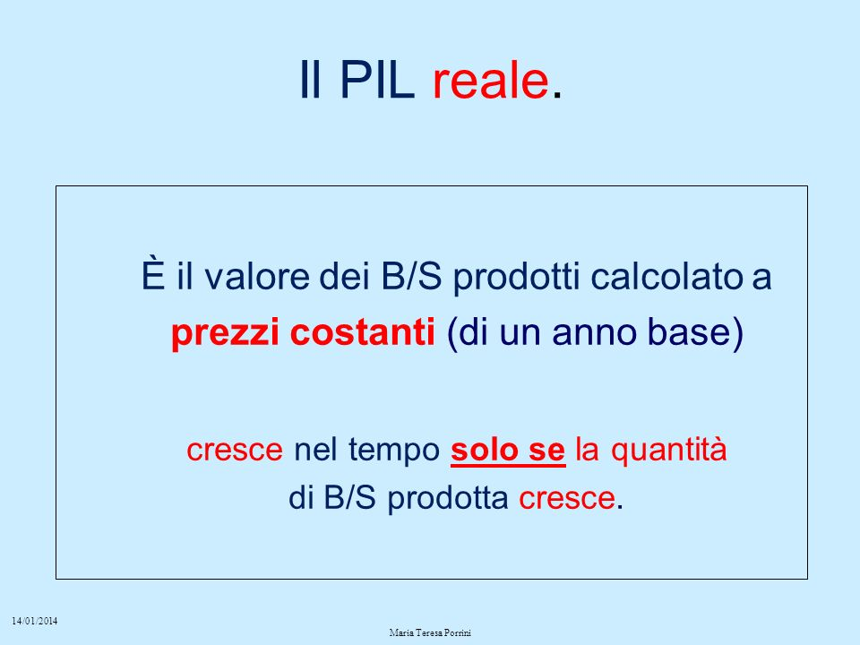 14/01/2014 Maria Teresa Porrini Il PIL reale.