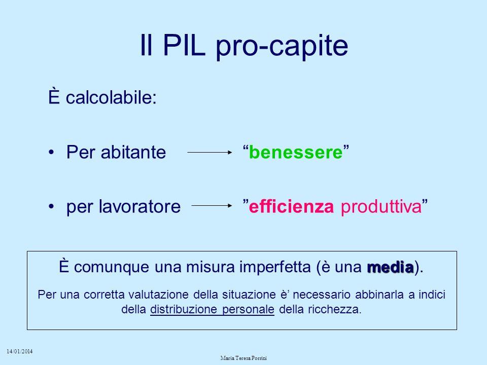 14/01/2014 Maria Teresa Porrini Il PIL pro-capite È calcolabile: Per abitantebenessere per lavoratore efficienza produttiva media È comunque una misura imperfetta (è una media).