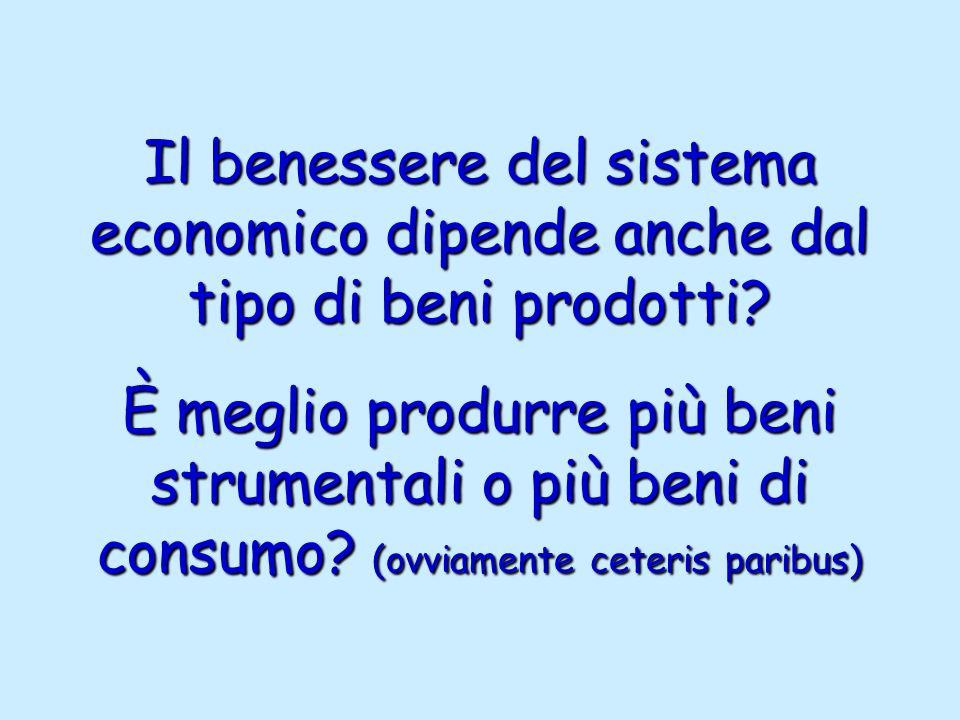 Il benessere del sistema economico dipende anche dal tipo di beni prodotti.