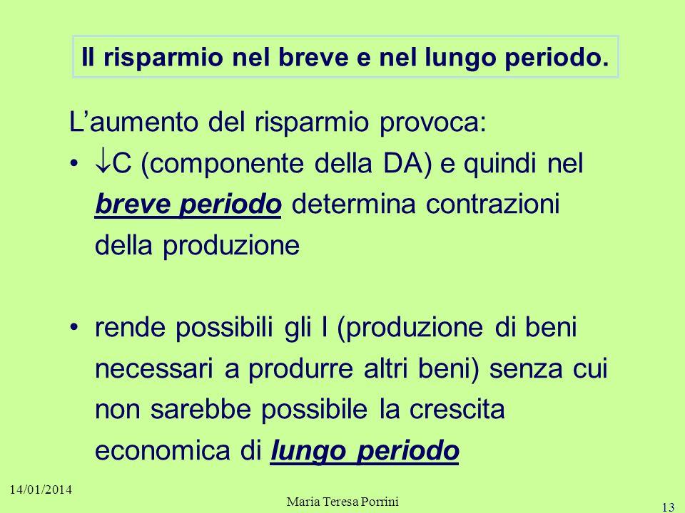 12 14/01/2014 Maria Teresa Porrini Il paradosso del risparmio. I Un aumento di S, se non compensato da un pari aumento di I, determina una calo della