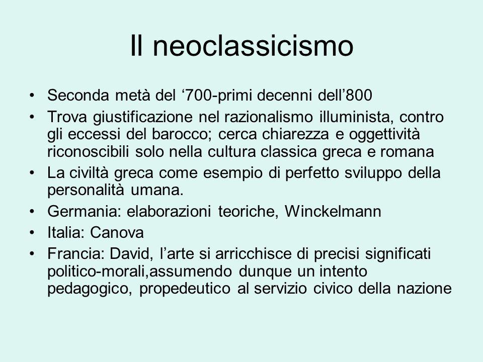 Il neoclassicismo Seconda metà del 700-primi decenni dell800 Trova giustificazione nel razionalismo illuminista, contro gli eccessi del barocco; cerca