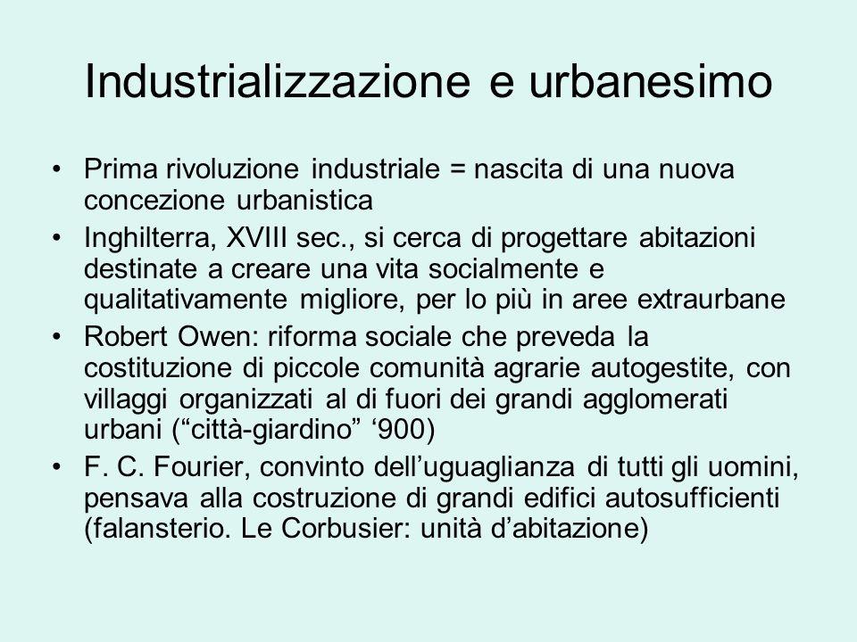 Industrializzazione e urbanesimo Prima rivoluzione industriale = nascita di una nuova concezione urbanistica Inghilterra, XVIII sec., si cerca di prog