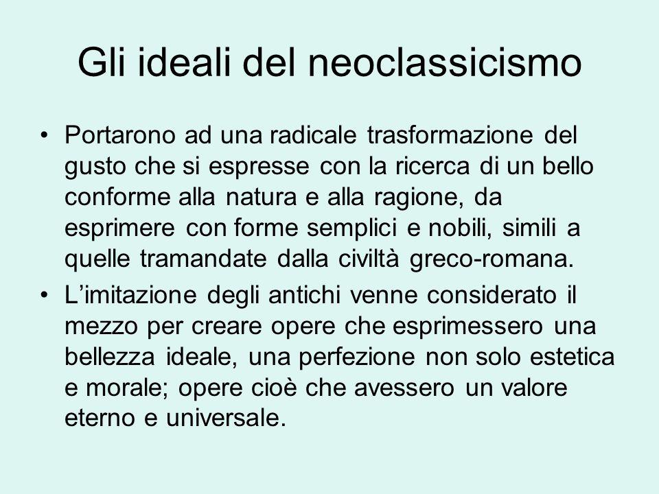 Gli ideali del Neoclassicismo Winckelmann affermava: Lunico modo per diventare grandi e, se possibile, inimitabili, è di imitare gli antichi.