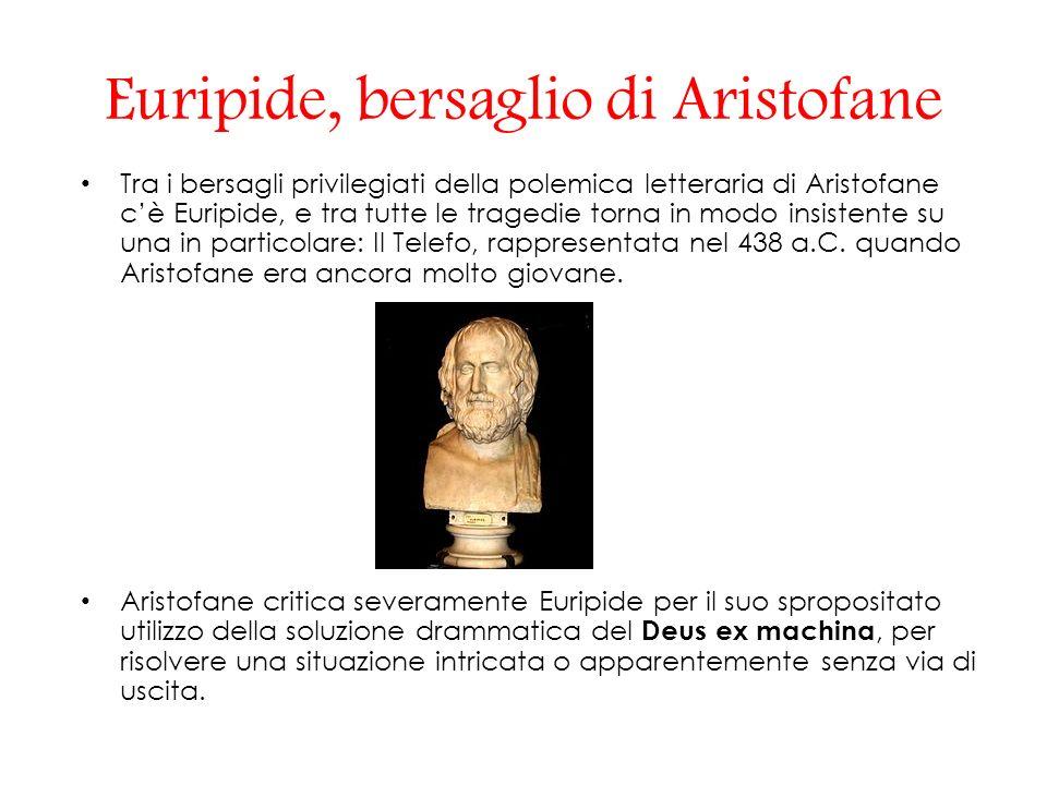 Euripide, bersaglio di Aristofane Tra i bersagli privilegiati della polemica letteraria di Aristofane cè Euripide, e tra tutte le tragedie torna in modo insistente su una in particolare: Il Telefo, rappresentata nel 438 a.C.