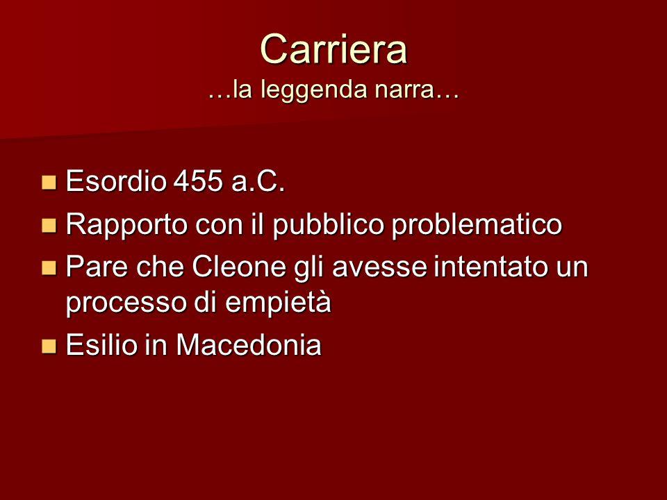 Carriera …la leggenda narra… Esordio 455 a.C. Esordio 455 a.C. Rapporto con il pubblico problematico Rapporto con il pubblico problematico Pare che Cl