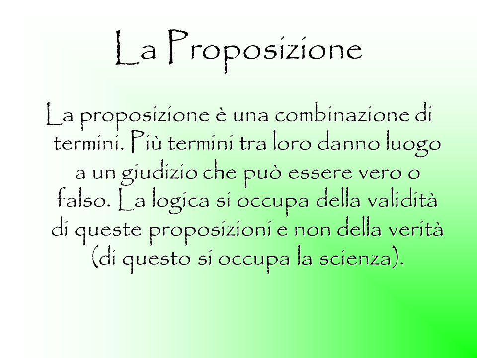 La Proposizione La proposizione è una combinazione di termini. Più termini tra loro danno luogo a un giudizio che può essere vero o falso. La logica s