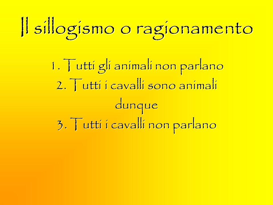 Il sillogismo o ragionamento 1. Tutti gli animali non parlano 2. Tutti i cavalli sono animali dunque 3. Tutti i cavalli non parlano