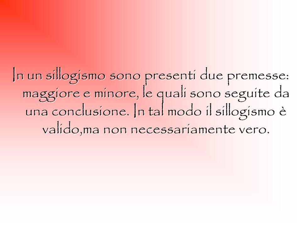 In un sillogismo sono presenti due premesse: maggiore e minore, le quali sono seguite da una conclusione. In tal modo il sillogismo è valido,ma non ne