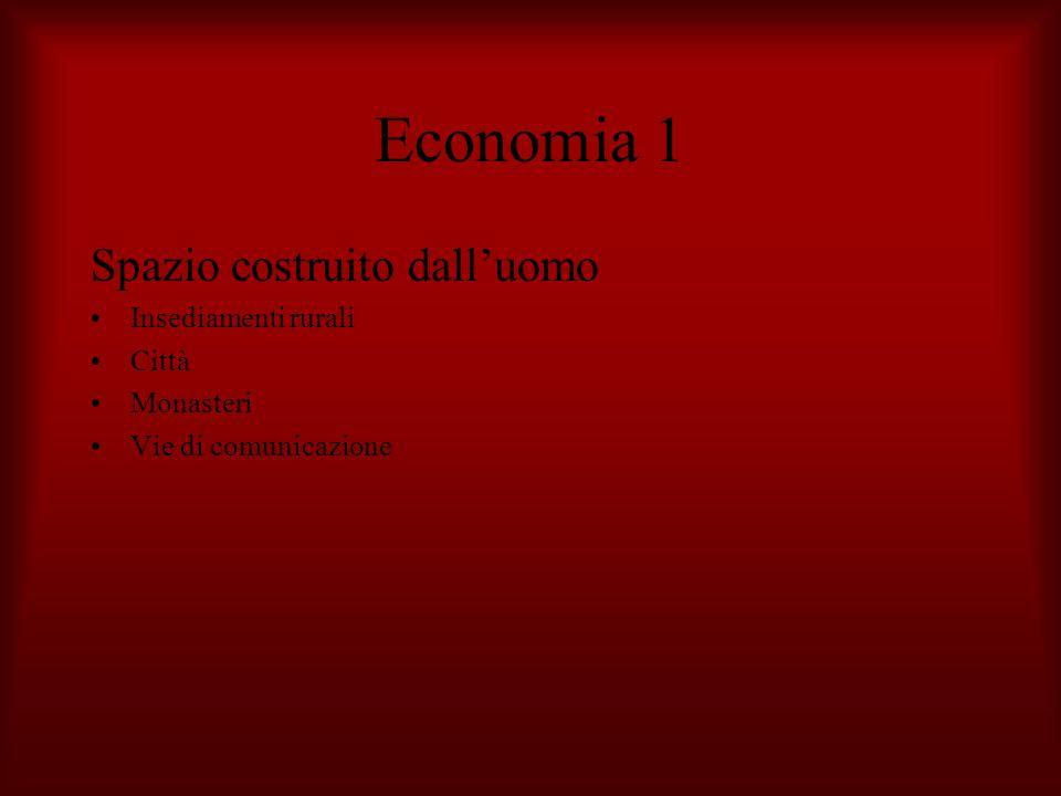 Economia 1 Spazio costruito dalluomo Insediamenti rurali Città Monasteri Vie di comunicazione