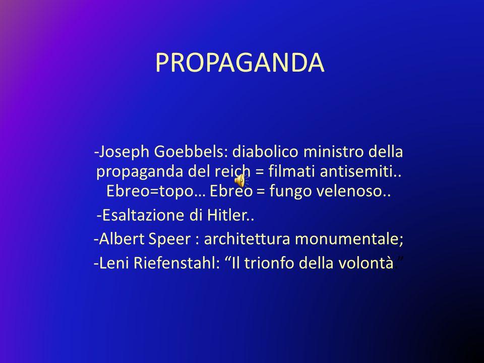 PROPAGANDA -Joseph Goebbels: diabolico ministro della propaganda del reich = filmati antisemiti.. Ebreo=topo… Ebreo = fungo velenoso.. -Esaltazione di