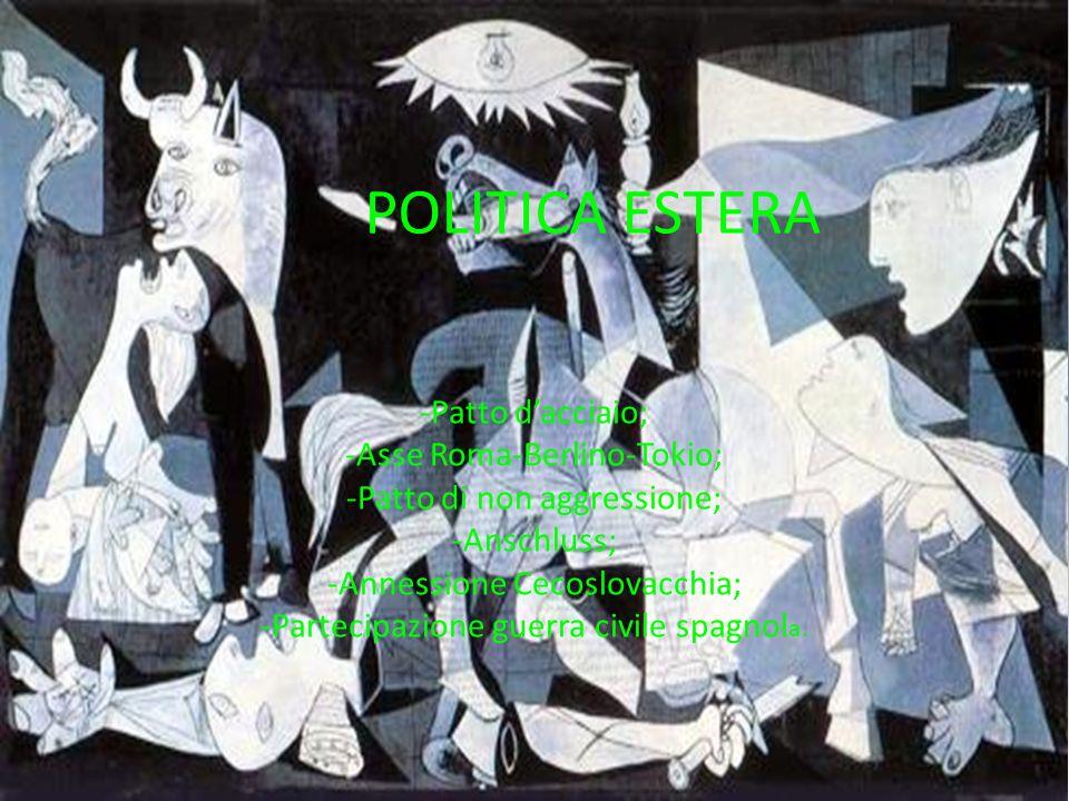 POLITICA ESTERA -Patto dacciaio; -Asse Roma-Berlino-Tokio; -Patto di non aggressione; -Anschluss; -Annessione Cecoslovacchia; -Partecipazione guerra c