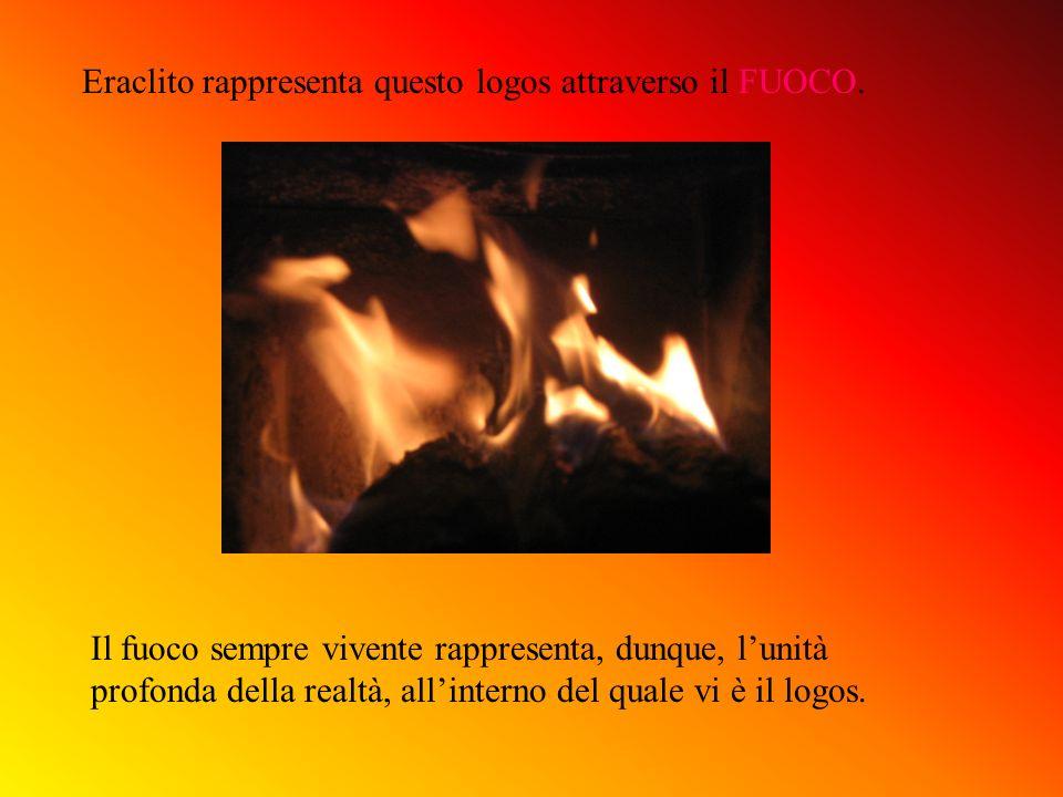 Eraclito rappresenta questo logos attraverso il FUOCO. Il fuoco sempre vivente rappresenta, dunque, lunità profonda della realtà, allinterno del quale