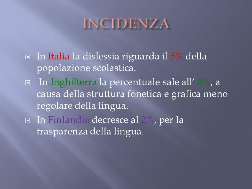 In Italia la dislessia riguarda il 5% della popolazione scolastica. In Inghilterra la percentuale sale all 8%, a causa della struttura fonetica e graf