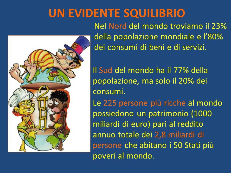 UN EVIDENTE SQUILIBRIO Nel Nord del mondo troviamo il 23% della popolazione mondiale e l80% dei consumi di beni e di servizi. Il Sud del mondo ha il 7