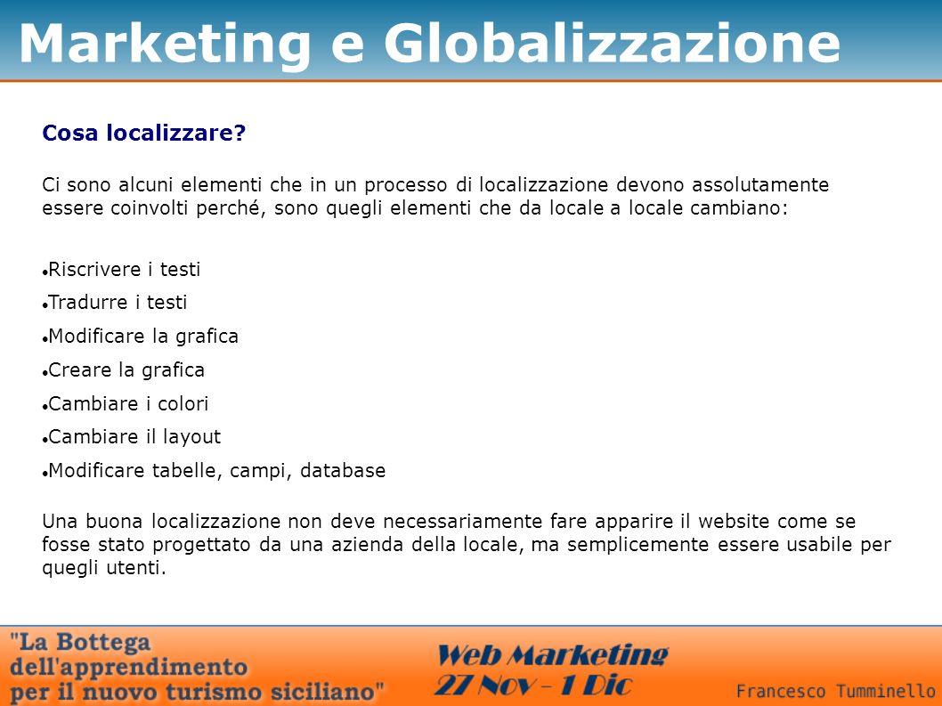 Marketing e Globalizzazione Cosa localizzare? Ci sono alcuni elementi che in un processo di localizzazione devono assolutamente essere coinvolti perch