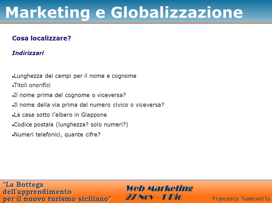 Marketing e Globalizzazione Cosa localizzare? Indirizzari Lunghezza dei campi per il nome e cognome Titoli onorifici Il nome prima del cognome o vicev