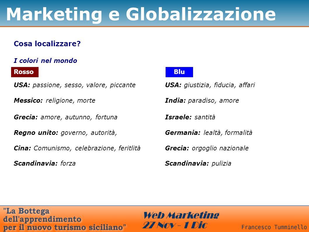Marketing e Globalizzazione Cosa localizzare? I colori nel mondo Rosso USA: passione, sesso, valore, piccante Messico: religione, morte Grecia: amore,