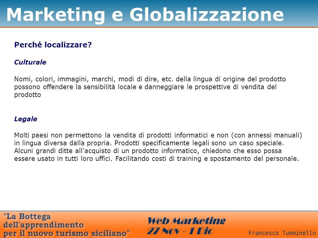 Marketing e Globalizzazione Perché localizzare? Culturale Nomi, colori, immagini, marchi, modi di dire, etc. della lingua di origine del prodotto poss