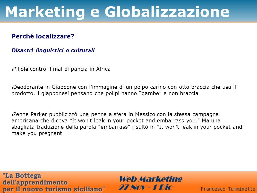 Marketing e Globalizzazione Perché localizzare? Disastri linguistici e culturali Pillole contro il mal di pancia in Africa Deodorante in Giappone con