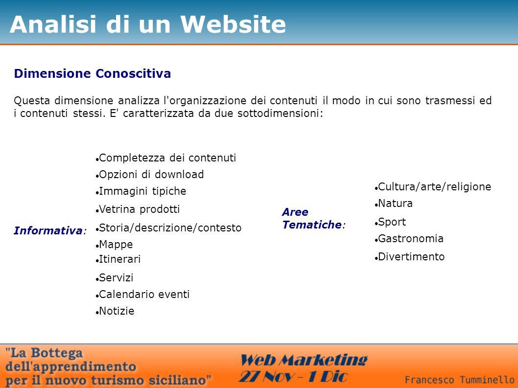 Analisi di un Website Dimensione Conoscitiva Questa dimensione analizza l organizzazione dei contenuti il modo in cui sono trasmessi ed i contenuti stessi.