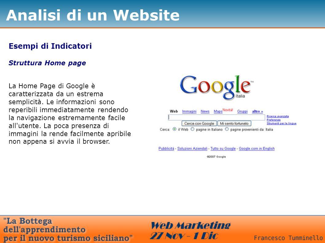 Esempi di Indicatori Struttura Home page La Home Page di Google è caratterizzata da un estrema semplicità.
