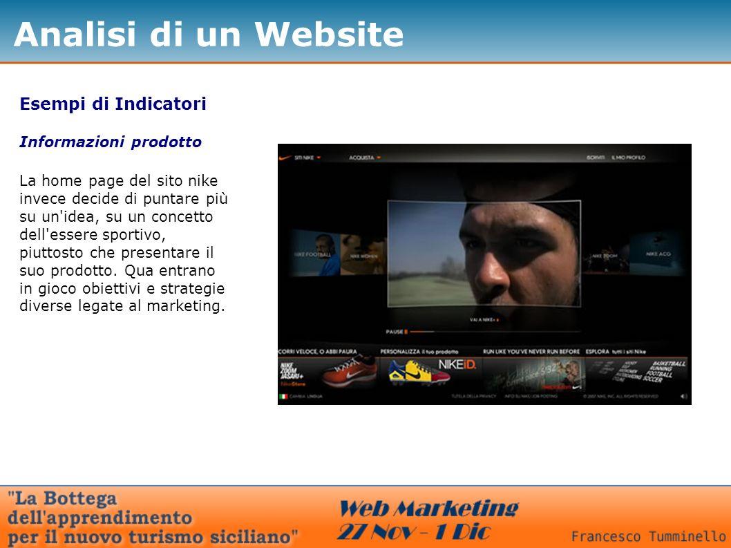 Esempi di Indicatori Informazioni prodotto La home page del sito nike invece decide di puntare più su un idea, su un concetto dell essere sportivo, piuttosto che presentare il suo prodotto.