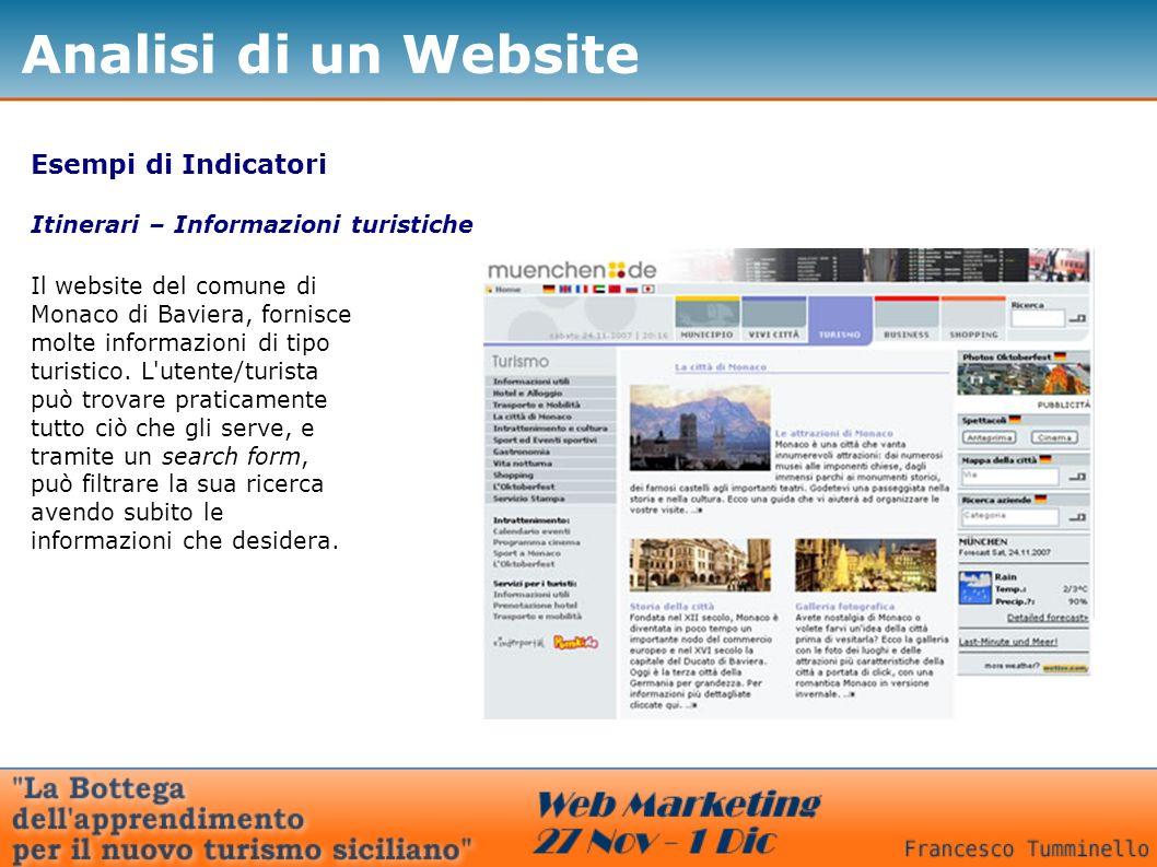 Esempi di Indicatori Itinerari – Informazioni turistiche Il website del comune di Monaco di Baviera, fornisce molte informazioni di tipo turistico.