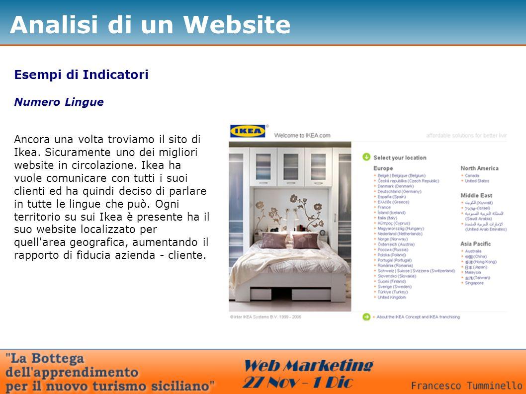 Esempi di Indicatori Numero Lingue Ancora una volta troviamo il sito di Ikea.