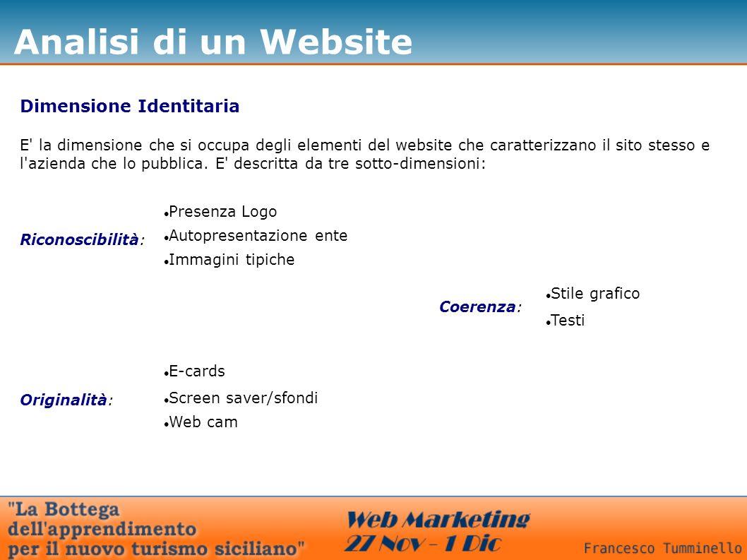 Analisi di un Website Dimensione Identitaria E la dimensione che si occupa degli elementi del website che caratterizzano il sito stesso e l azienda che lo pubblica.