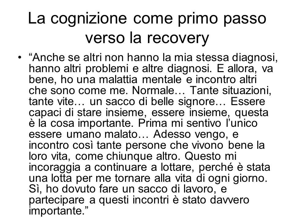 La cognizione come primo passo verso la recovery Anche se altri non hanno la mia stessa diagnosi, hanno altri problemi e altre diagnosi. E allora, va
