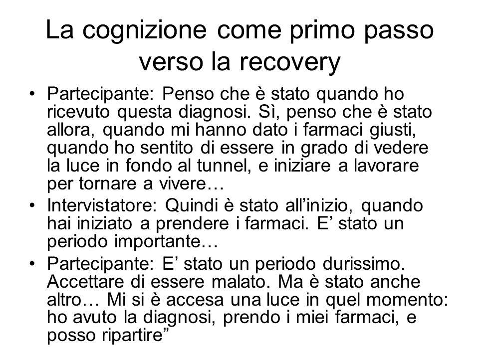 La cognizione come primo passo verso la recovery Partecipante: Penso che è stato quando ho ricevuto questa diagnosi. Sì, penso che è stato allora, qua
