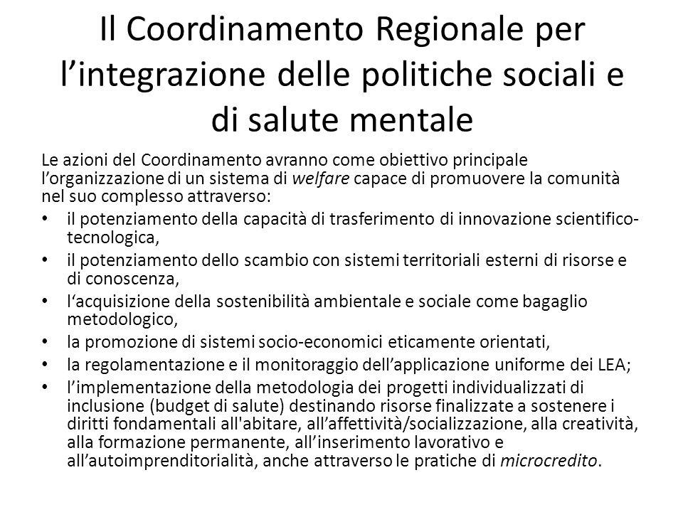 Il Coordinamento Regionale per lintegrazione delle politiche sociali e di salute mentale Le azioni del Coordinamento avranno come obiettivo principale