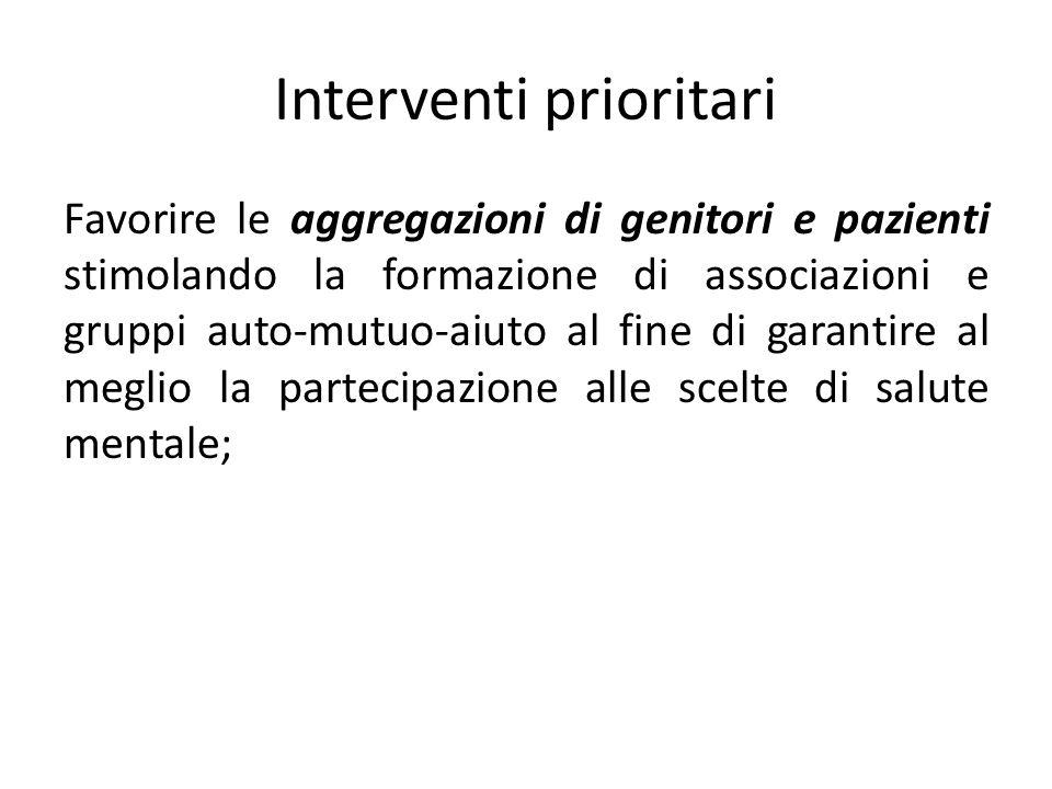 Interventi prioritari Favorire le aggregazioni di genitori e pazienti stimolando la formazione di associazioni e gruppi auto-mutuo-aiuto al fine di ga