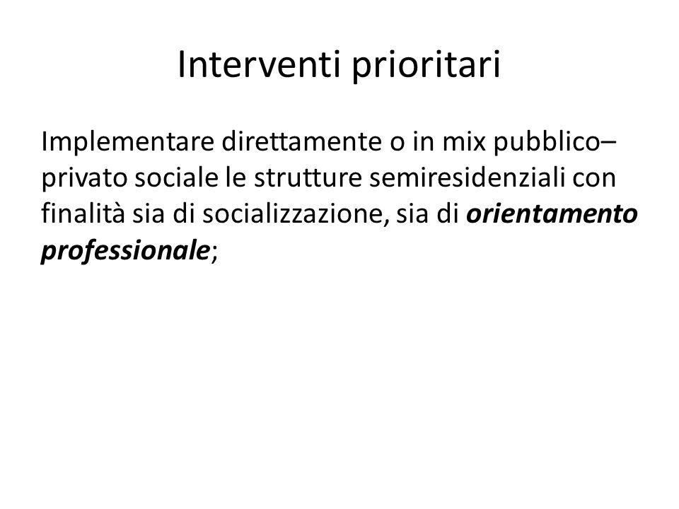 Interventi prioritari Implementare direttamente o in mix pubblico– privato sociale le strutture semiresidenziali con finalità sia di socializzazione,