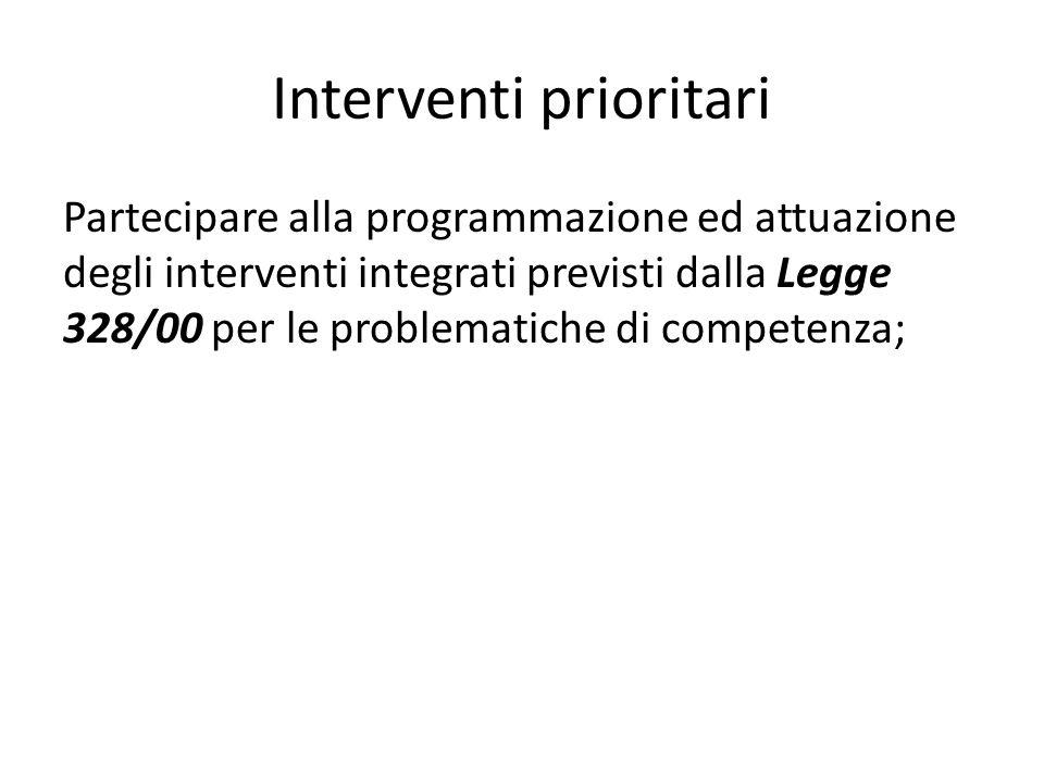 Interventi prioritari Partecipare alla programmazione ed attuazione degli interventi integrati previsti dalla Legge 328/00 per le problematiche di com