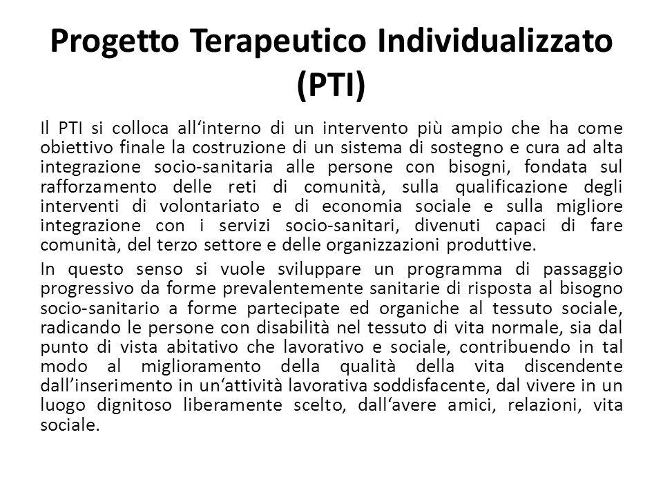 Progetto Terapeutico Individualizzato (PTI) Il PTI si colloca allinterno di un intervento più ampio che ha come obiettivo finale la costruzione di un