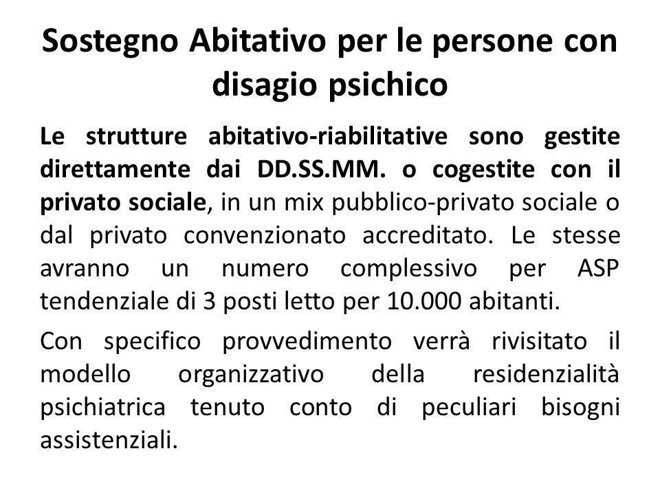 Sostegno Abitativo per le persone con disagio psichico Le strutture abitativo-riabilitative sono gestite direttamente dai DD.SS.MM. o cogestite con il