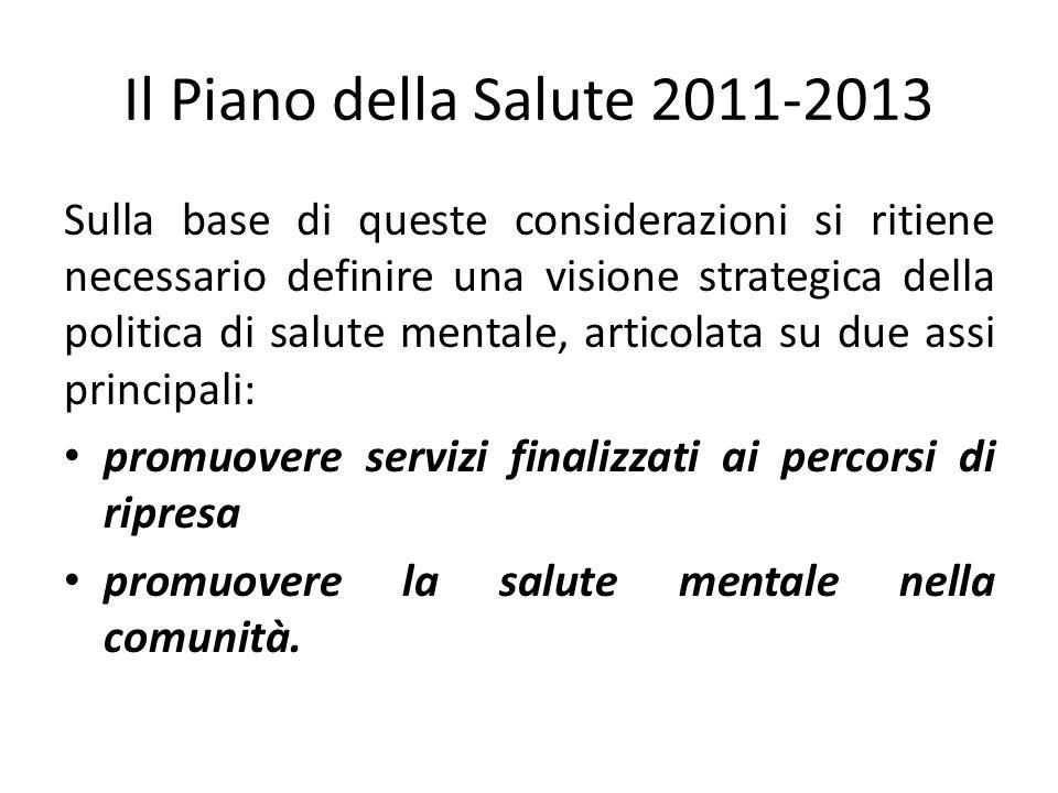Il Piano della Salute 2011-2013 Sulla base di queste considerazioni si ritiene necessario definire una visione strategica della politica di salute men