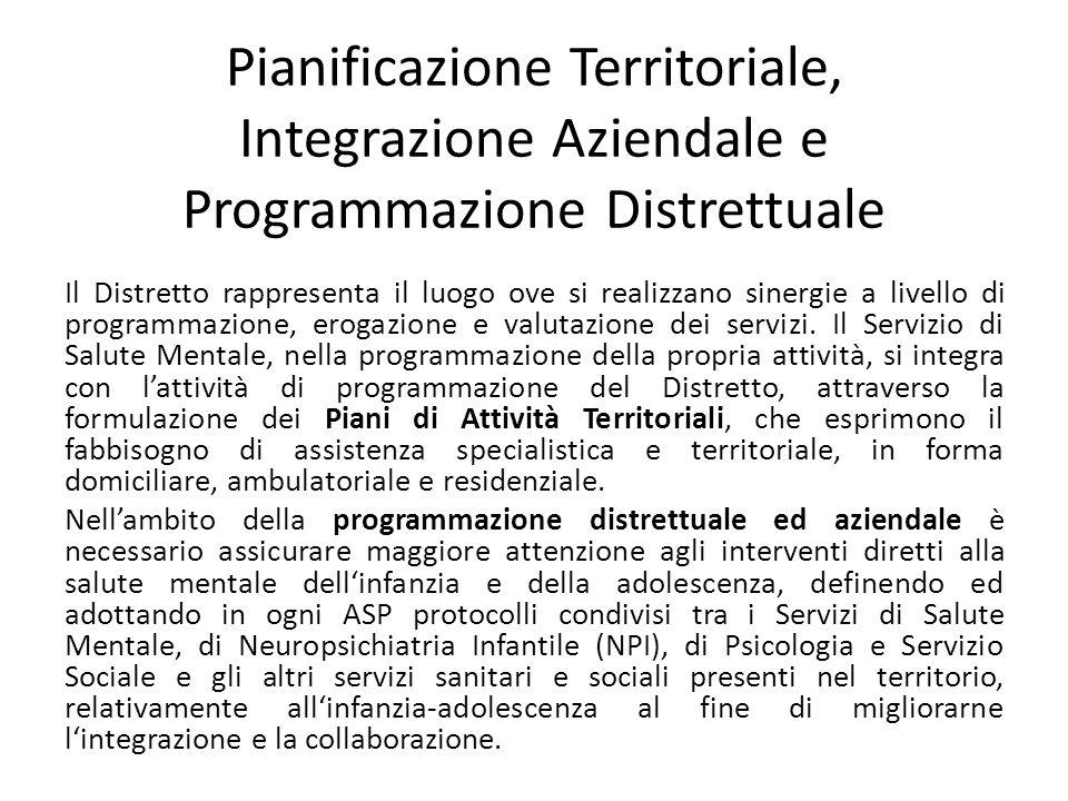 Pianificazione Territoriale, Integrazione Aziendale e Programmazione Distrettuale Il Distretto rappresenta il luogo ove si realizzano sinergie a livel